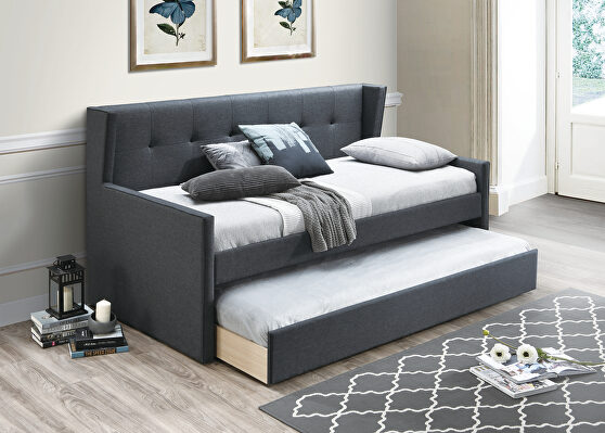 Charcoal burlap day bed w/trundle