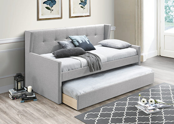 Light gray burlap day bed w/trundle
