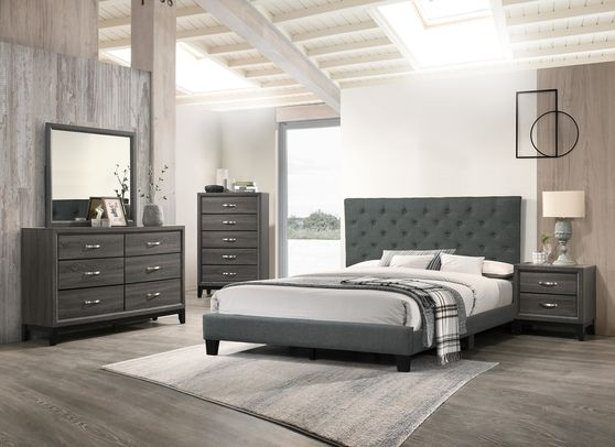 Simple blue/gray fabric bed w/ full platform