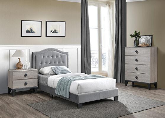 Gray velvet upholstery twin bed