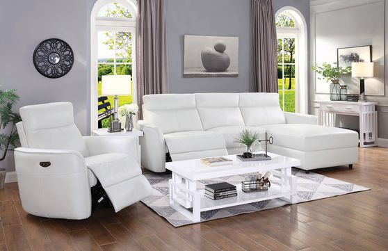 Casual white power recliner sectional