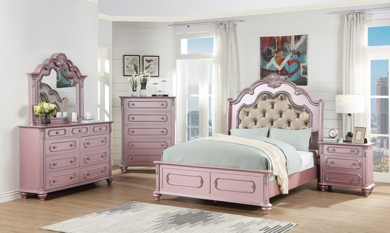 Carvings / tufted headboard glam style rose gold bed