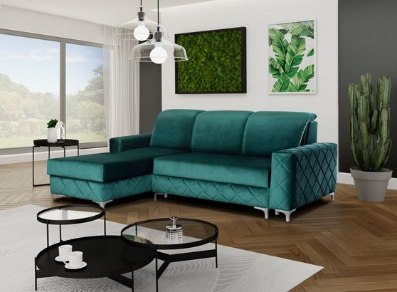 Sleeper sectional sofa in velvet fabric