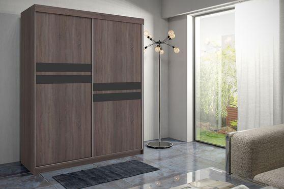 Black glass/chocolate wood wardrobe/closet
