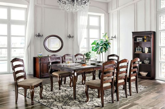 Dark walnut casual style family size dining table
