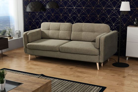 Gray/green fabric sofa bed in retro modern style