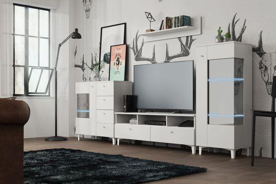 White 4pcs entertainment center/wall unit