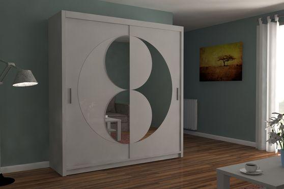 White finish sliding mirrored doors wardrobe/closet