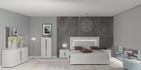 Contemporary european bed w/ lights in headboard