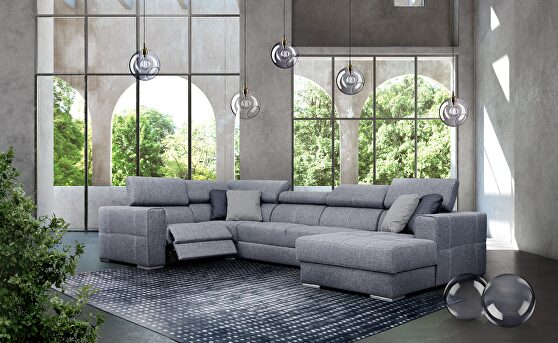 Casual style recliner contemporary sectional w/ bed