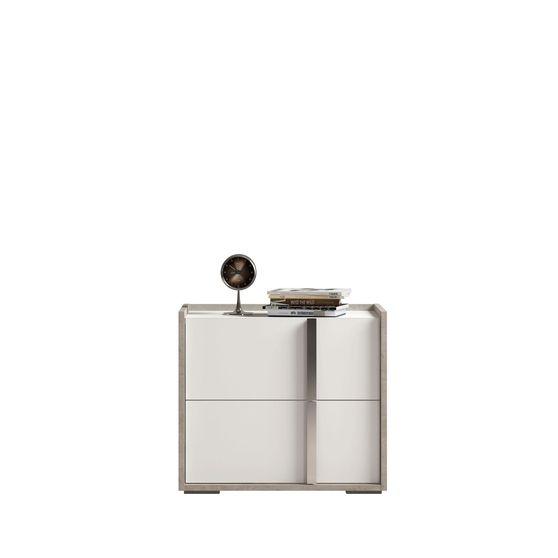 Contemporary white/gray/metallic Italian night stand