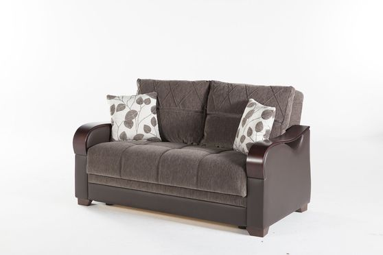 Drastic contemporary two-toned brown storage loveseat