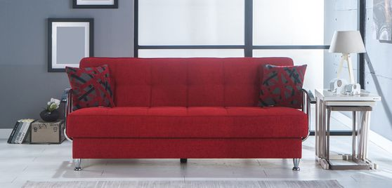 Red fabric sofa bed w/ storage and chrome arms