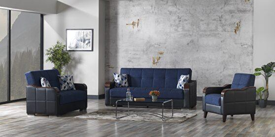 Blue / black two toned sleeper / storage sofa