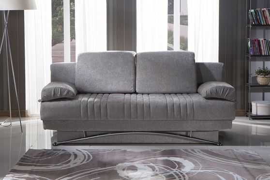 Gray fabric storage queen size sofa bed