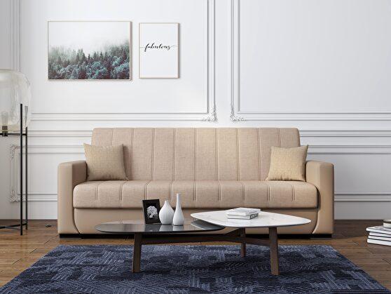 Versatile sofa / sofa bed in brown fabric