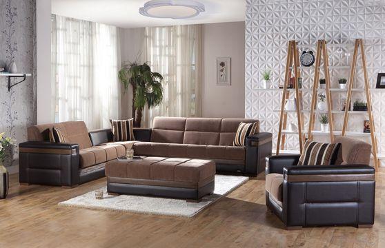 Troy brown modern sectional/chair/ottoman set
