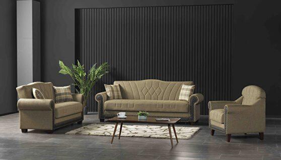 Quality brown fabric storage / sleeper / sit / sleep sofa