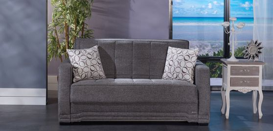 Gray modern pull-out sofa bed in fabric