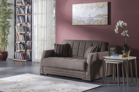 Brown modern pull-out sofa loveseat bed