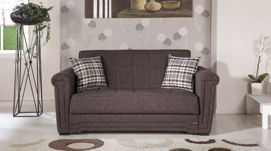 Andre dark brown fabric sleeper loveseat