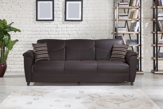 Dark brown leatherette sofa bed with storage
