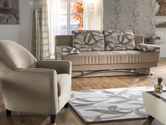 Sand beige storage queen size sofa bed