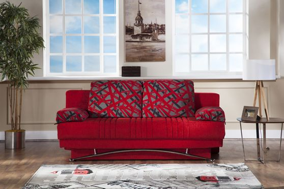 Red fabric storage queen size sofa bed