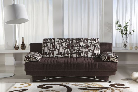 Burgundy fabric storage queen size sofa bed