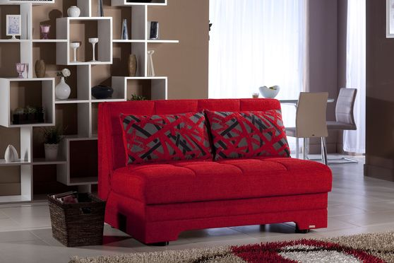 Convertible red fabric loveseat w/ storage