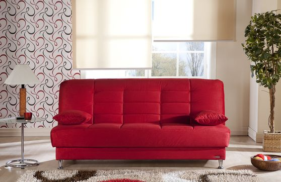 Modern affordable red fabric sleeper sofa bed