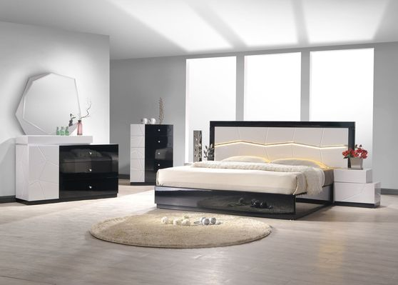 Black/lt. gray lacquer queen size 5pcs bed set