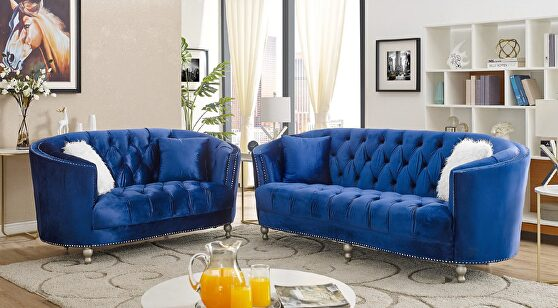 Contemporary glam style sofa and loveseat set