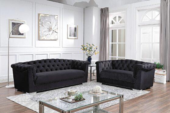 Black arched back tufted velvet sofa and loveseat set