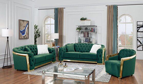 Gold trim glam style living room set in green velvet