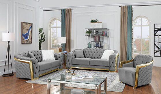 Gold trim glam style living room set in gray velvet
