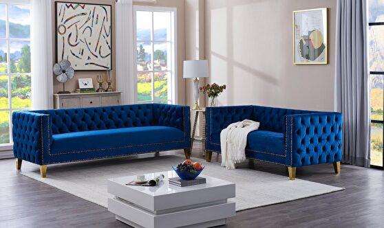 2pcs blue velvet / gold legs living room set