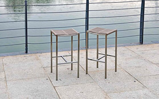 Stone indoor/outdoor stain-steel backless rope barstool