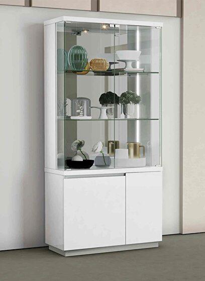 Cameron vitrine high gloss white, back mirror and led light