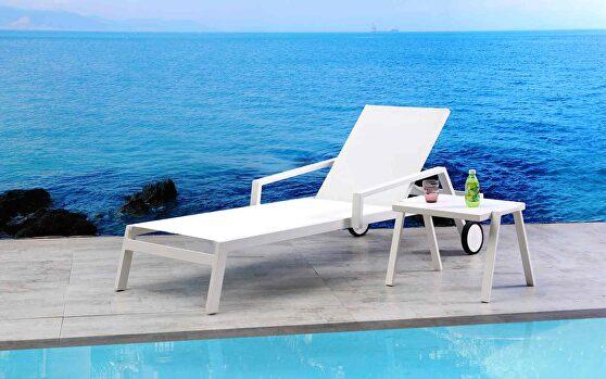 Bondi outdoor chaise lounge  aluminium matte white color