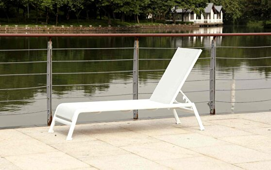 Sunset indoor / outdoor chaise lounge white aluminum base