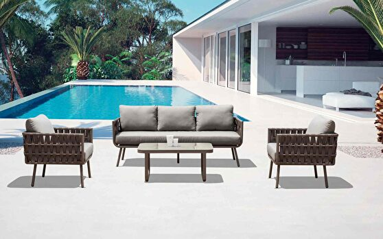 Oasis outdoor set: sofa, 2 chairs, and coffee table