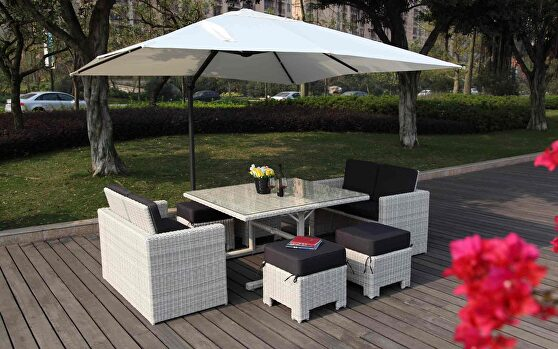 Robinson 7 pieces collection: dining table, 2 love seats and 4 stools