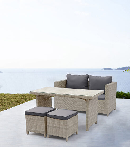 Abbie outdoor dining collection, beige wicker with an aluminum frame, 4pc/set