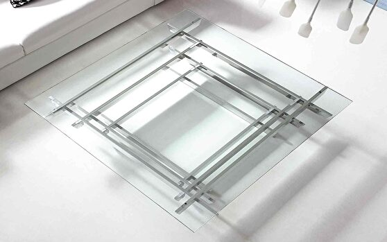 Aura coffee table, square clear glass