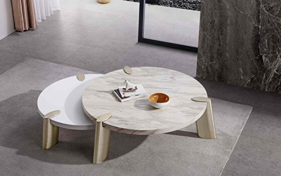Mimeo large round coffee table white marble paper top