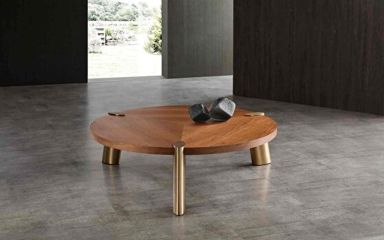 Mimeo large round coffee table walnut veneer top