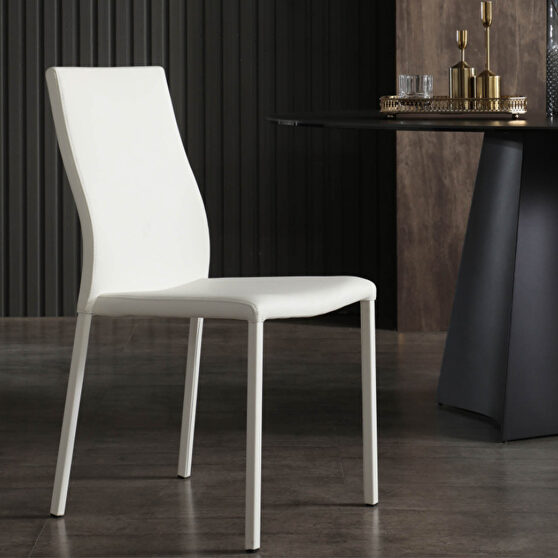 Ellie dining chair white faux leather