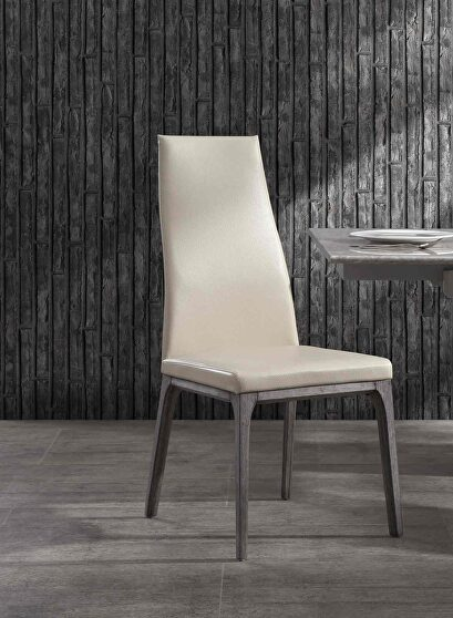 Ricky dining chair, taupe faux leather