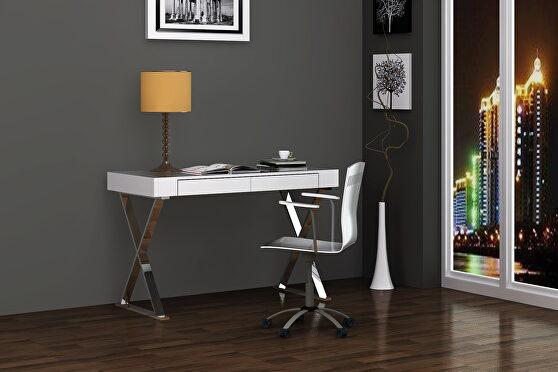 Elm desk large, high gloss white